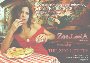 Flyer ZOE.LEELA Live show at Kaffee Burger in Berlin / 29th september 2009